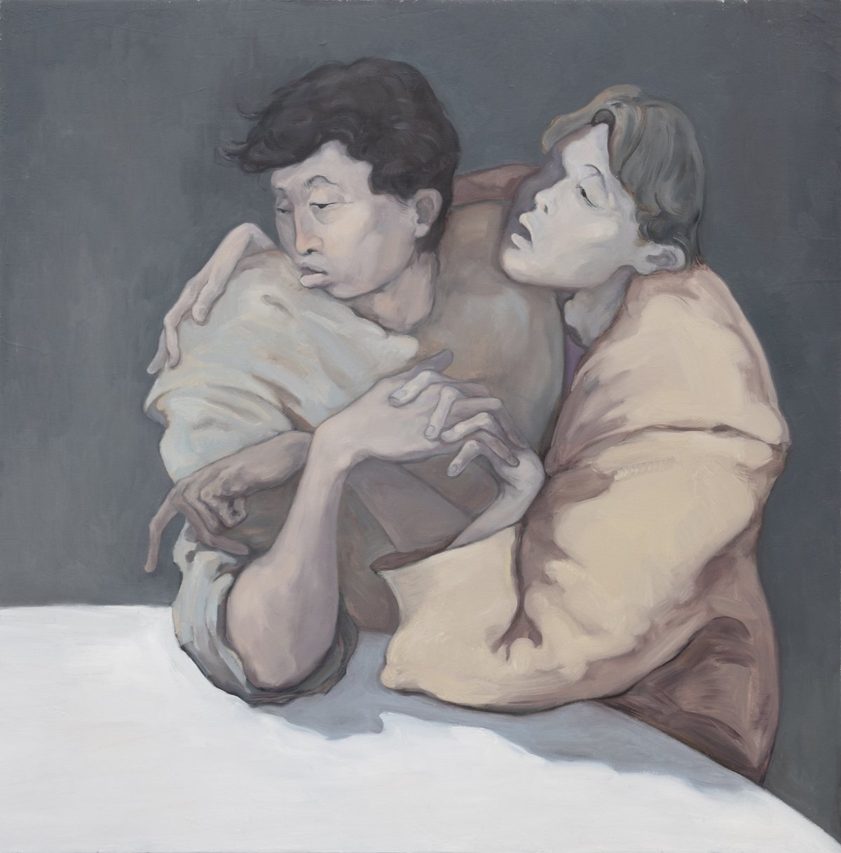 Keep Warm, 2020, Oil on canvas, 100 x 100cm |《取暖》,2020年,布面油画,100 x 100厘米