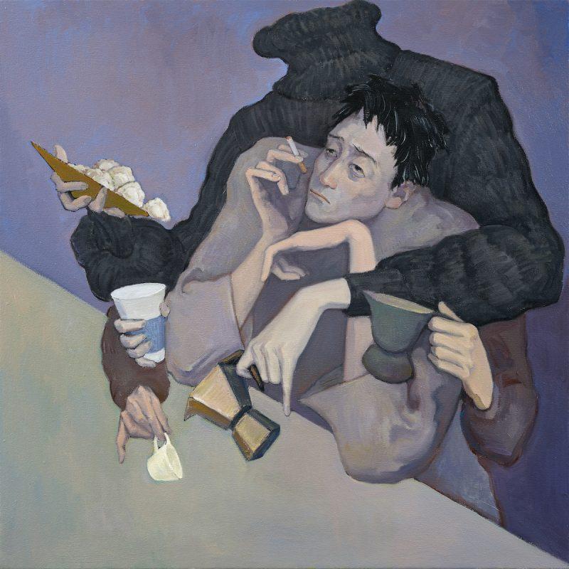 Close Contact,2021, Oil on canvas, 100 x 100cm | 《密切接触》,2021年,布面油画,100 x 100厘米